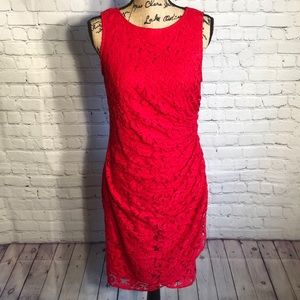Adrianna Papell red lace body hugging dres…